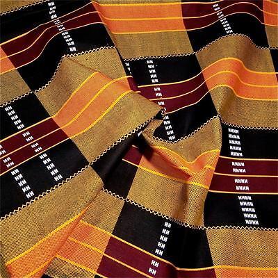 African Cotton Fabric Kente Cloth Print, Gold Orange Black & Burgundy Per ½ Yard