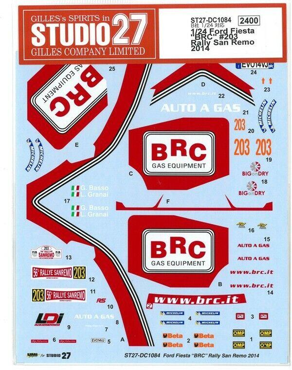 STUDIO27 SKODA S2000 #211 RALLY SAN REMO 2014 DECAL for BELKITS 1//24