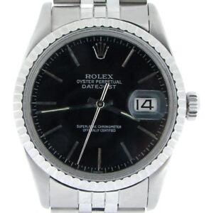 Rolex-Datejust-Mens-SS-Stainless-Steel-Jubilee-Quickset-Black-Dial-Watch-16030
