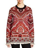 Tory Burch Tapestry Jacquard Merino Wool Crewneck Sweater Jumper Red Xs $695