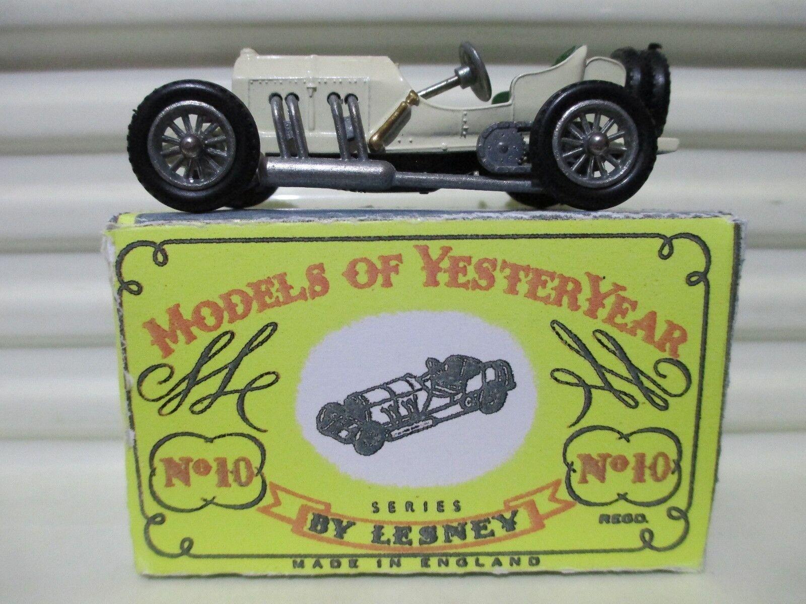 Matchbox 1958 YESTERYEAR Y10 1908 Cream +Dk Grn TYPE 2 Sts GP Mercedes Issue 10