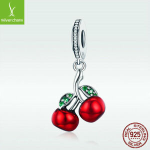 Real-S925-Sterling-Silver-Charm-Bead-Red-Cherry-Pendant-CZ-Jewelry-For-Bracelet