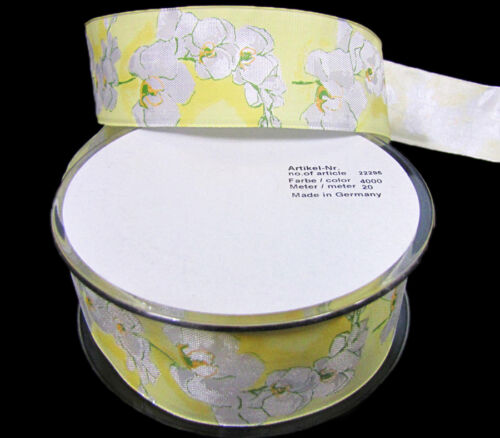 """2 Yards White Orchids Flowers European Wired Ribbon 1 1//2/"""" Made in Germany"""