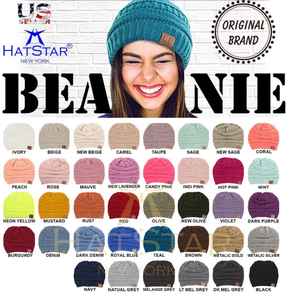 34961161ce7 New Womens Knit Slouchy Beanie Oversized Thick Cap Hat Unisex Slouch Color  CC