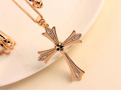 Sparkling Unisex Punk Skull Cross Pendant Gold CZ Double Chain Necklace