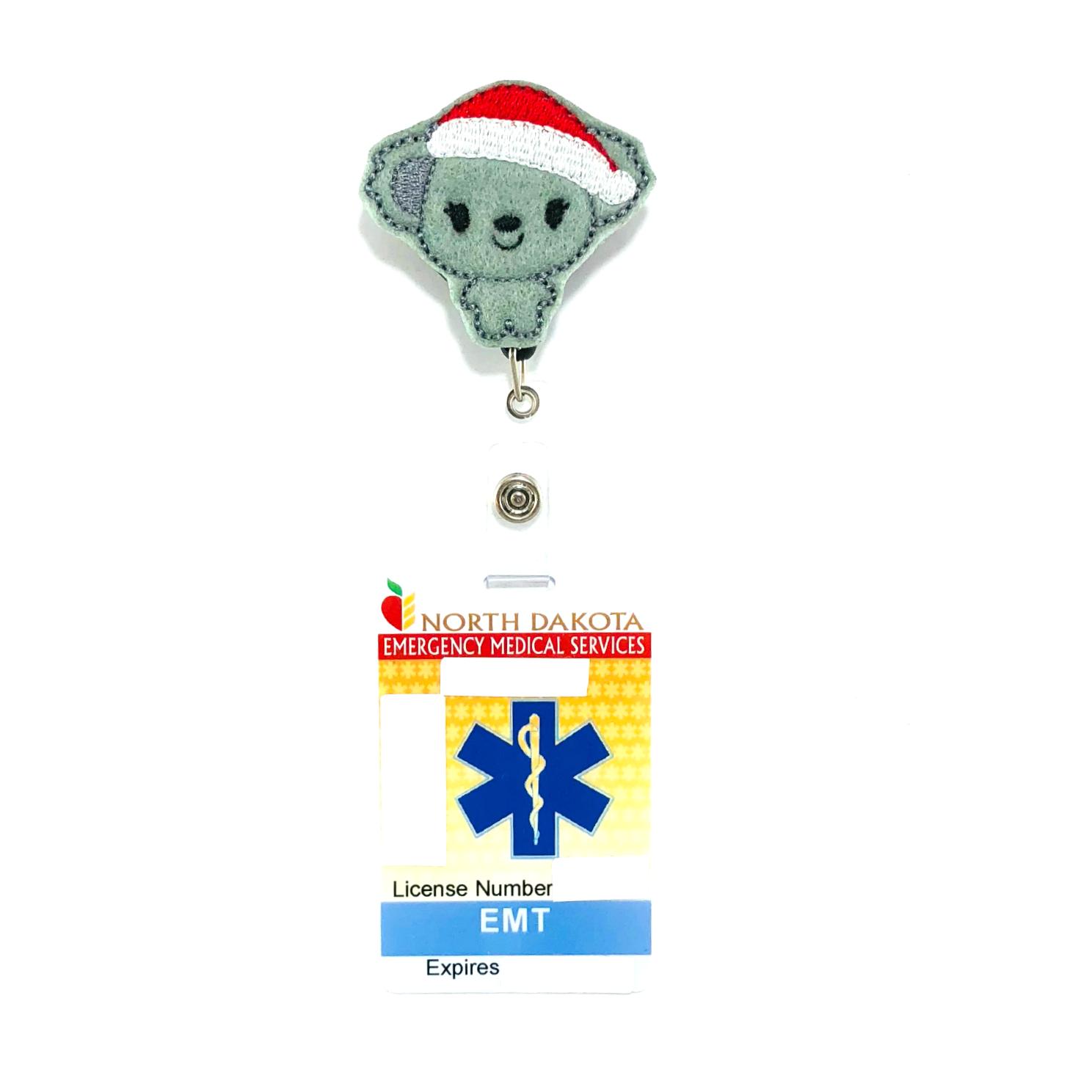 Christmas Koala Bear Badge Reel Holder Clip Santa Name Tag ID Charm Accessory