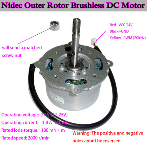 Nidec DC 12V-24V Outer Rotor PWM DC Brushless Frequency Motor Dual Ball Bearing