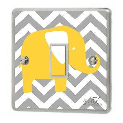 Decal// Skin Cover sw9 Baby Grey Elephant Light Switch Sticker Vinyl Graphics