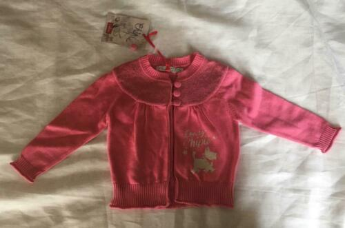 CHIPIE Girls 12m//18m//2 yrs pink cardigan w//cute doggie print on the front NWT