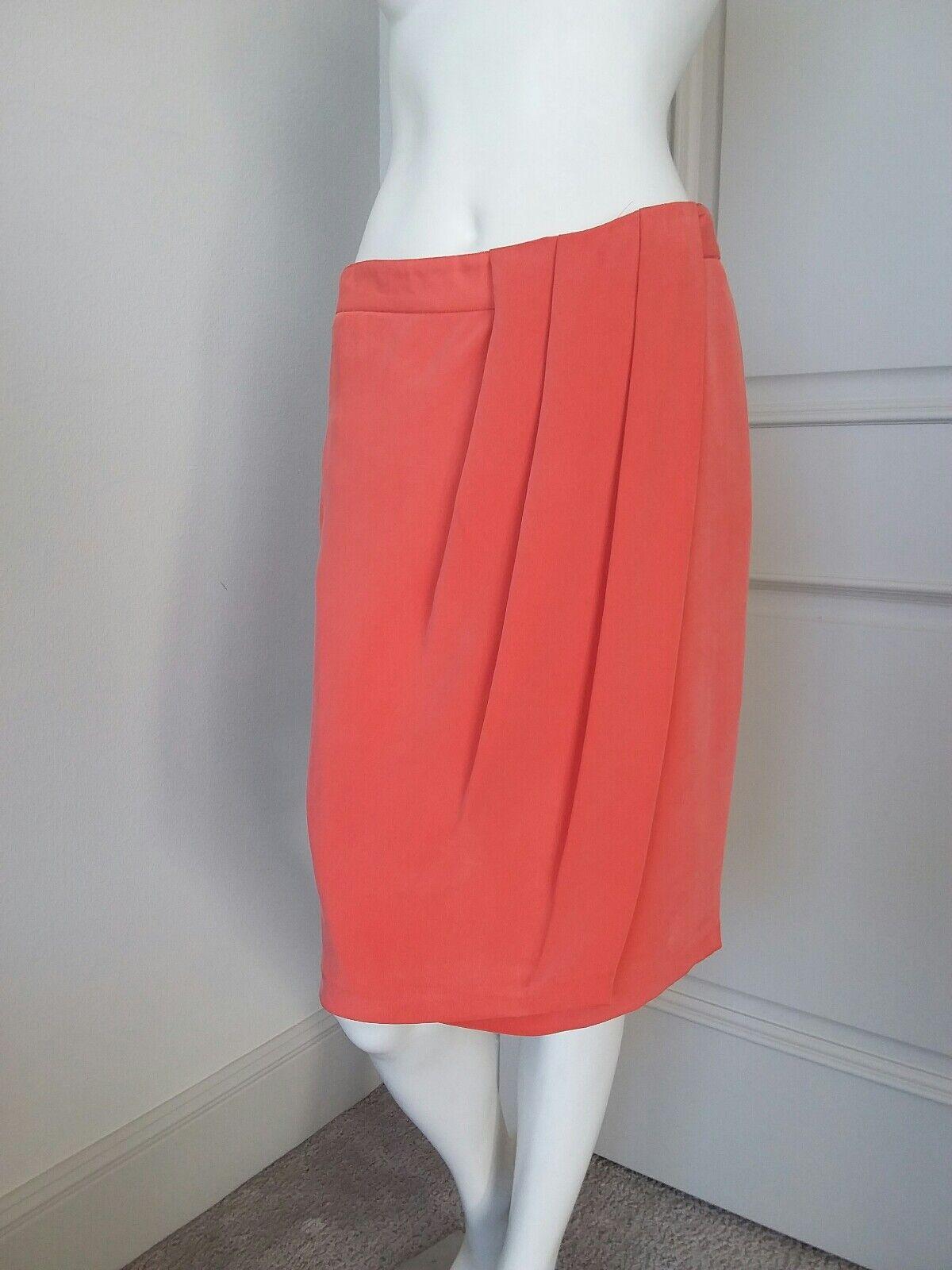 Lafayette 148 orange 100% silk wrap up skirt sz 6 P NWT