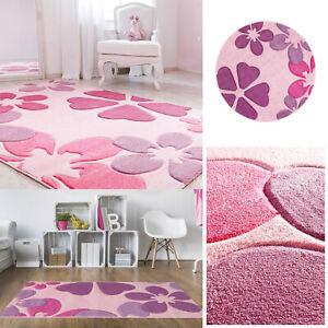 Details zu Kinderteppich Spielteppich Blumen Kinderzimmer Pink Rosa Teppich  Kinder Rund