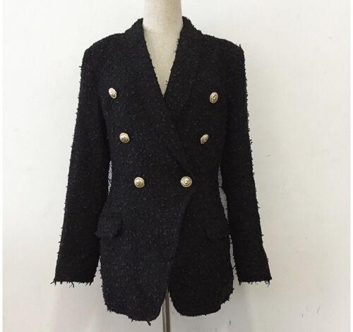 Chaqueta de estilo tweed Balmain con botones de León, Negro, Talla M (8-10)