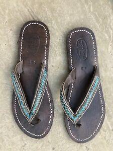 a06a552e7 Image is loading ASPIGA-Sparkly-Blue-Beaded-Flip-Flops-Sandals-EU43-