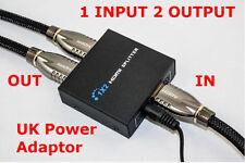 POWERED HDMI SPLITTER 1 INPUT 2 OUTPUTS SPLITTER 1080P 3D BLURAY PROJECTOR PS3