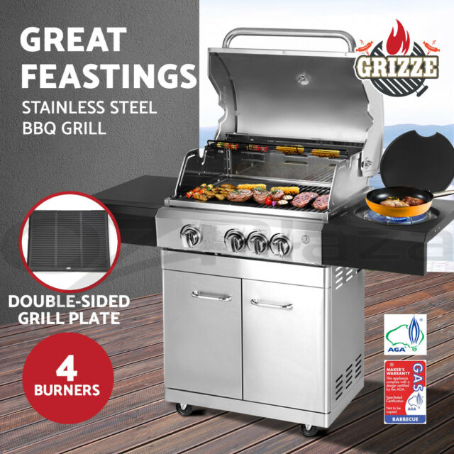 Grizze Outdoor Kitchen BBQ Gas Grill Propane Stainless Steel  Stove 4 Burners