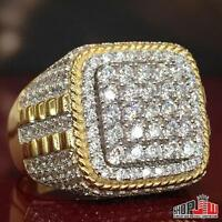 Mens Yellow Gold Finish .925 Silver Ring Micro Pave Hip Hop Pinky Bling Size 11