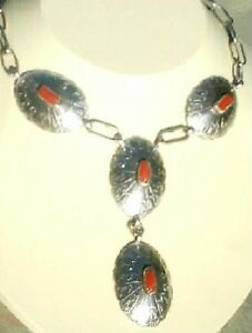Signed-Adjustable-Four-Shadow-Box-Sterling-Silver-and-Coral-Drop-Style-Necklace