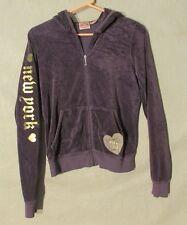 W6190 Juicy Couture Juniors Large Purple/Gold/White Velour Full Zip Hoodie