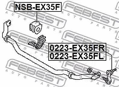 Rod//Strut stabiliser FEBEST 0223-EX35FR