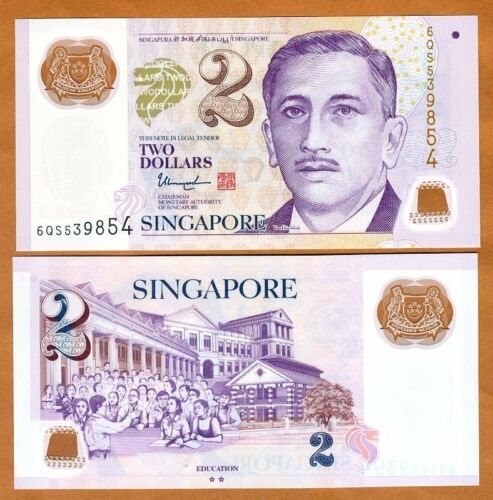Singapore UNC />  Two Hollow Stars 2017 2 Dollars Polymer P-46i ND