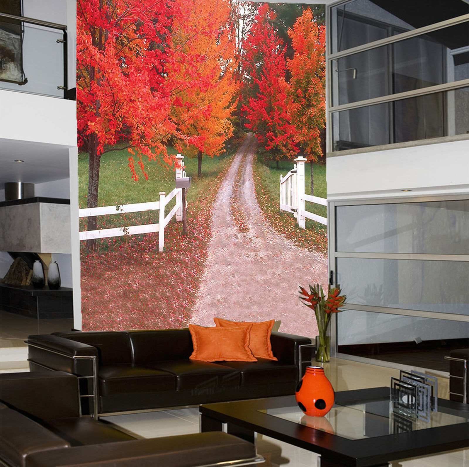 3D Road Beautiful Red Trees 31 Wall Paper Wall Print Decal Wall AJ Wall Paper