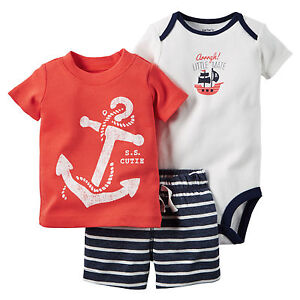 Carters 18 Months Nautical Bodysuit Shorts Tee Set Baby