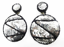 DISCO DIVA GLAMOUR SEQUIN LADIES CLIP ON EARRINGS = SHINE & SPARKLE! (ZX1)