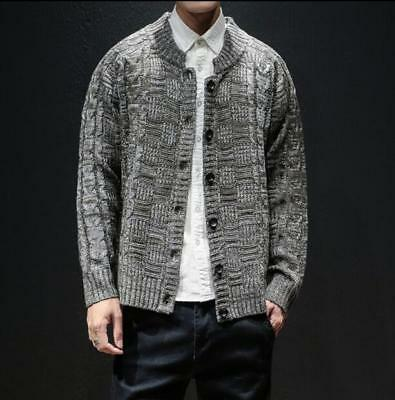 Men Casual Neck Pullover Sweaters Autumn Slim Fit Long Sleeve Cable Knitwear ILJ