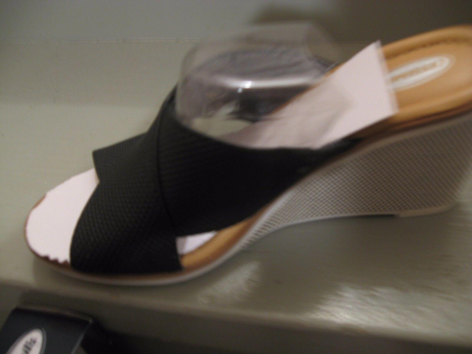 DR. SCHOLL'S BLACK FABRIC WEDGES  7  B  BRAND NEW  7 So cute 6ffb0d