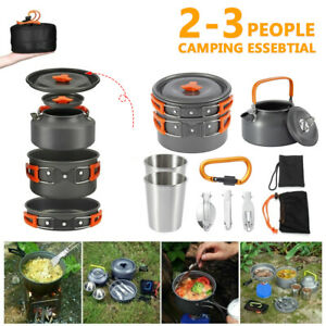 8-teilig-Aluminium-Camping-Kochset-Kochtopf-Set-Kochgeschirr-Topfset-2-3-Person