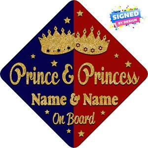 Yellow /& Red New! Personalised Baby On Board Car Sign ~ Grandson Prince Blue