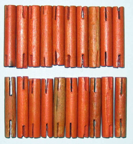 """VINTAGE Wooden Tinker Toys Lot 20 THIN ORANGE RODS ~1.25/"""" Replacement Pieces"""