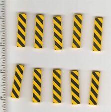 Lego 1x4 Yellow Black Stripe Pattern Danger Tile Smooth Finishing Flat New 12Pcs