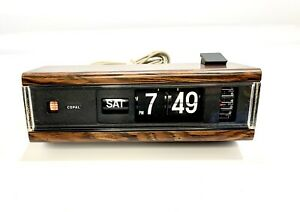 Vintage-Copal-Model-229-Flip-Numbers-amp-Day-Alarm-Clock-Wood-Grain-Finish-Tested