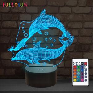 Dolphin gifts,3D Illusion Lamp Ocean Animal Night Light for Kids Bedroom Decor