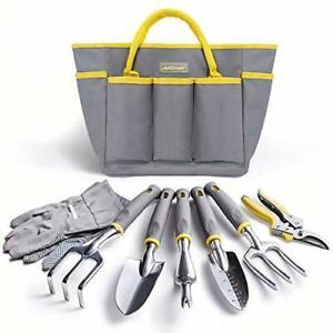 Heavy Duty Garden Tool Set - 8Pcs Gardening Tool Set with Tote Bag