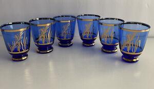 Lot-Of-6-Vintage-Cobalt-Blue-Gold-Glass-Cordial-Shot-Glasses-Barware-MCM