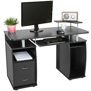 Computertisch PC-Tisch Arbeitstisch Schubladen Schreibtisch Büromöbel Schwarz