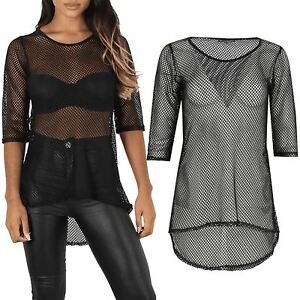 Womens-Ladies-Fish-Net-High-Low-3-4-Sleeve-See-Through-Curved-Hem-Round-Neck-Top