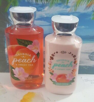 bath and body works georgia peach & sweat tea shower gel and body lotion