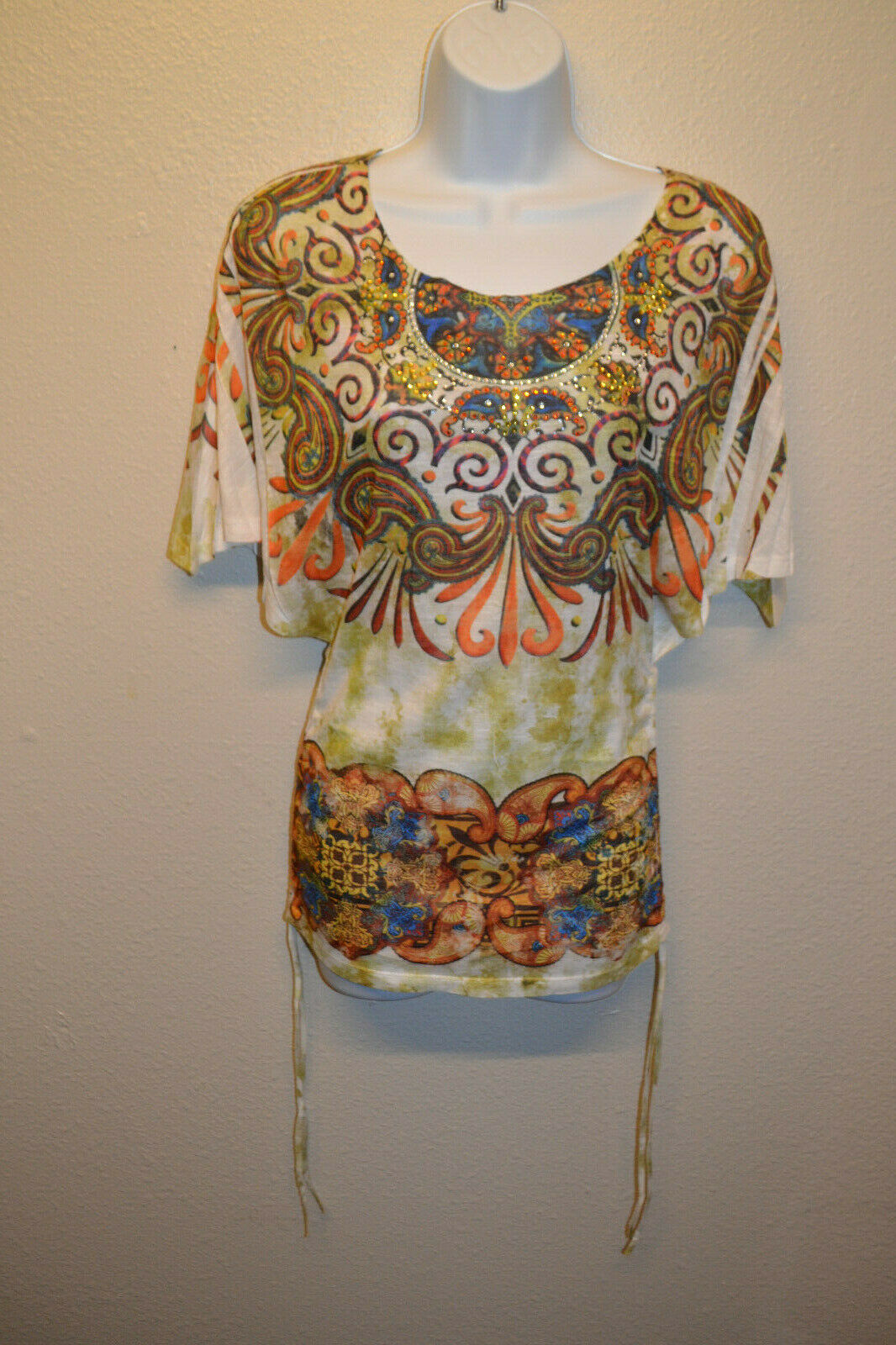 Ladies Women's SMALL Panhandle Slim Short Sleeve Blouse Shirt T-Shirt Multicolor