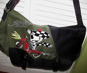 Ed-Hardy-Christian-Audigier-Green-Black-Shoulder-Book-Messenger-Bike-Bag-Purse
