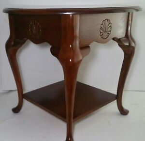 Image Is Loading Vintage Round End Table Solid Wood Carved Seashell