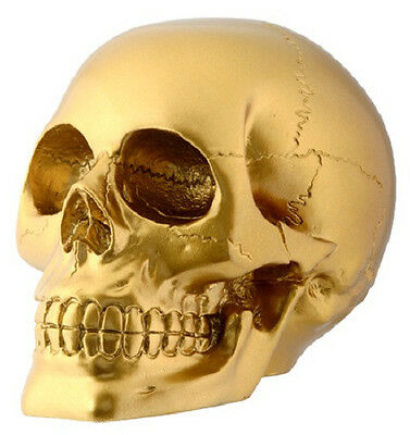 Gold Skull Statue Sculpture Figure - WE SHIP WORLDWIDE - FATHER'S DAY GIFT