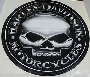 Harley Davidson Motorcycle Bike Willie G Skull Huge Trailer Decal - Harley davidsons motorcycles stickers