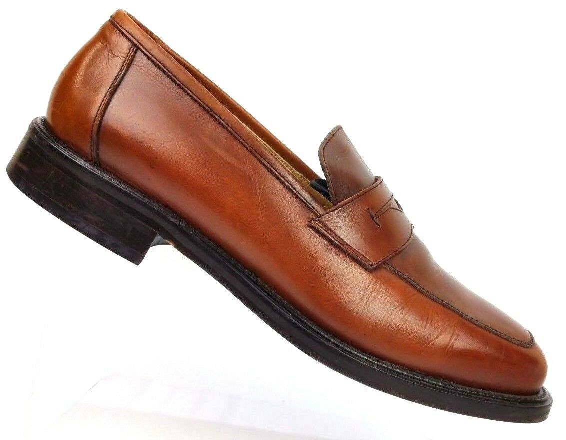 Mercanti Fiorentini Brown Leather Penny Loafer Slip On shoes 4580 Men's 10.5 M