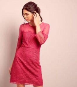 New-Look-Bright-Pink-Lace-Mesh-Panel-3-4-Sleeve-Dress-UK-10-LF085-AA-21