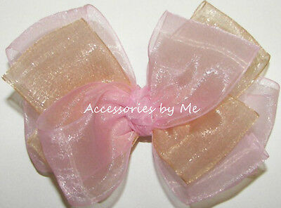 Blush Pink Gold Hair Bow Sheer Organza Baby Flower Girl Pageant Alligator Clip