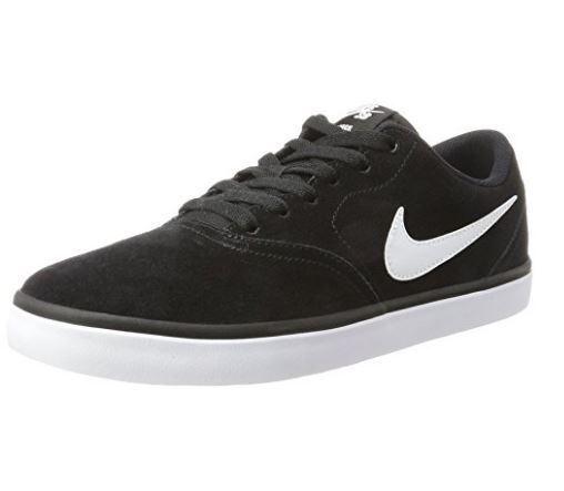Men's Nike SB Check Solar Suede Skate Shoe Black/White 843895 001