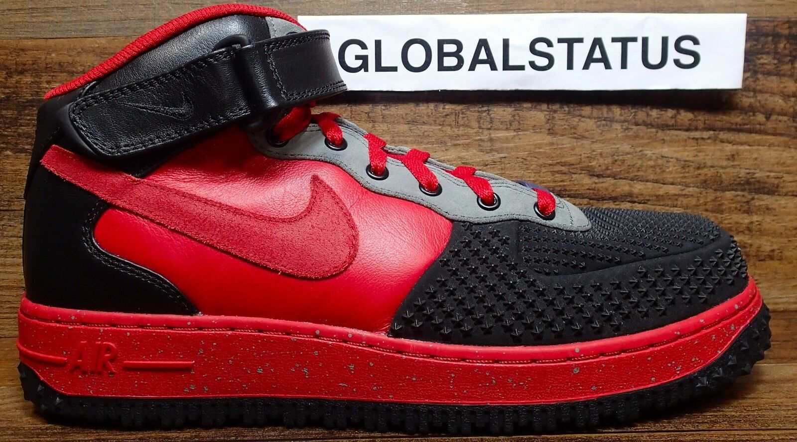 MENS NIKE ID AF1 AIR FORCE 1 MID RED BLACK GREY DUCK BOOTS 808788 996 SIZE 9.5